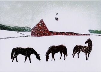 Pack of 5. Winter Grazing. Three Horses in a Snowy Landscape. Christmas Card.