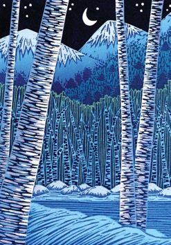 Pack of 5. Snow Birches Classic Woodland Woodcut Holiday Card. Very Nice!