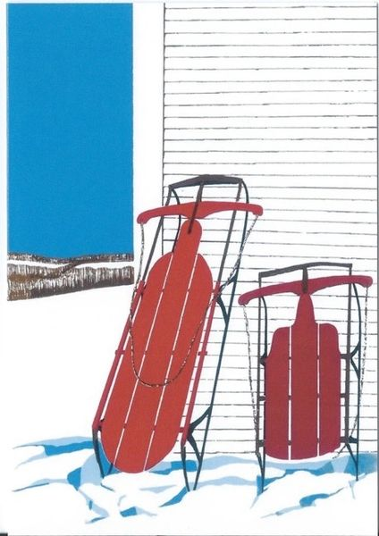 Pack of 5 Red Sleds. Bold Illustration of an American Classic!