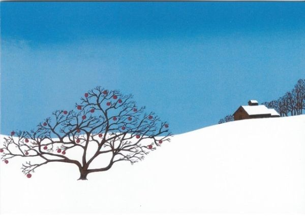 Pack of 5. Winter Apples. Stylish Illustration of an Apple Tree in the Snow.