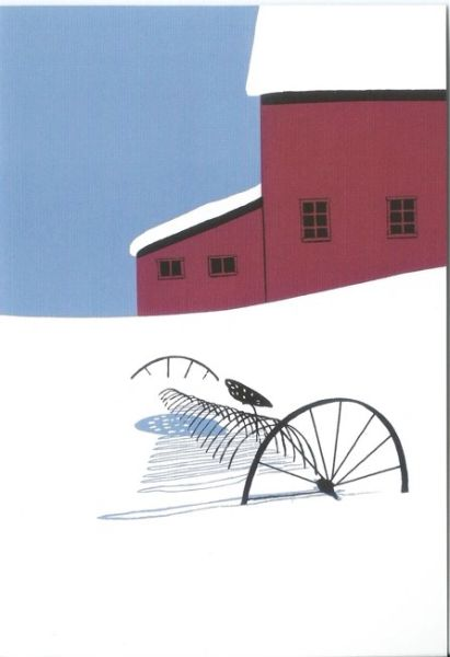 Pack of 5 . Settled in. Minimalist Illustration of a Snowy American Farmyard.