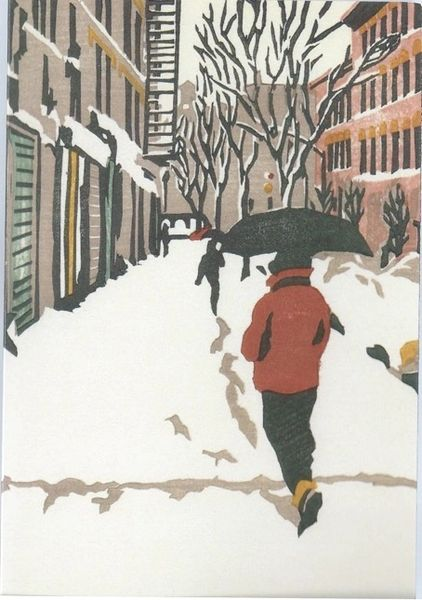 Pack of 5. Winter in Brooklyn. Contemporary Illustration of a Snowy New York Street.