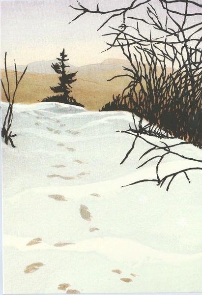 Pack of 10 Footprints on Lambert Ridge. Contemporary Illustration Christmas Card