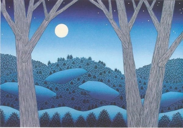 Pack of 10 - A Winter View Contemporary Print of a Moonlit Night. Very Nice!