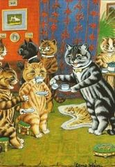 'Afternoon Tea' Charming Vintage Cat Greeting Card by Louis Wain