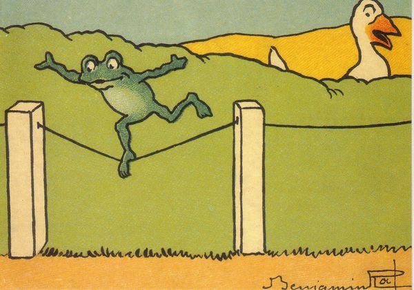 'The Acrobatic Frog' Fun Greeting Card Vintage Illustration Repro