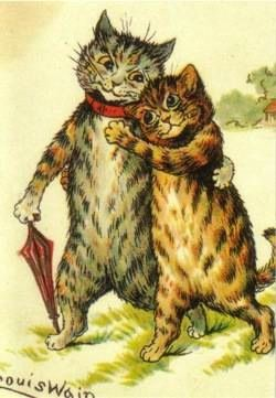 'A Loving Couple' Adorable Louis Wain Illustration Greeting Card of 2 Cats in Love