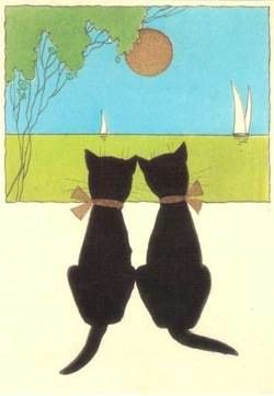 'Peaceful Holiday' A Very Simple Vintage Graphic of 2 Black Cats.