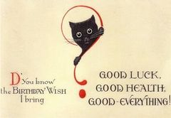 Traditional Black Cat Good Luck Birthday Card