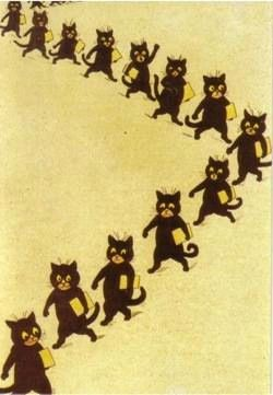 'The Cats Come To School' Louis Wain Illustration Greeting Card
