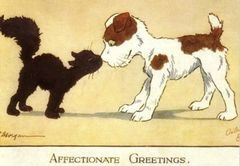 'Affectionate Greetings' Lovely Cat and Dog Vintage Illustration Card
