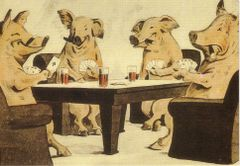 Pigs Playing Poker Fantastic Vintage Illustration Greeting Card