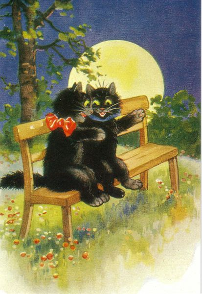 Romantic Black Cat Greeting Card Vintage Repro