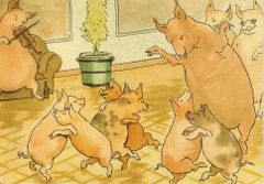 'A Musical Evening' Vintage Pig Greeting Card Repro