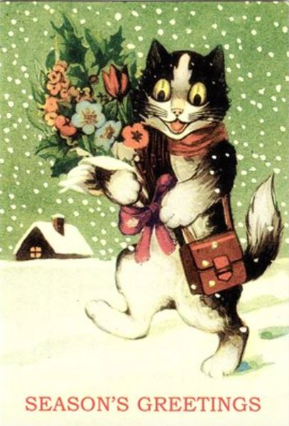 Pack of 10. 'Christmas Bouquet' Unusual Cat Christmas Card Repro