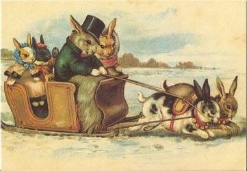 Unusual Vintage Rabbit Christmas Card Repro