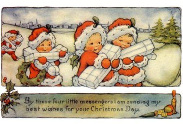 'Christmas Messengers' Vintage Christmas Card Repro