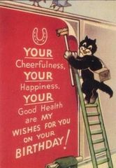 'The Birthday Poster' Vintage Black Cat Birthday Card