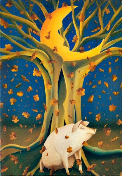 Lovely Autumnal Illustration of Piggy Under a Tree Greeting Card