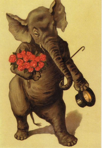 Elephant With Bouquet Vintage Greeting Card Repro
