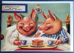 'Breakfast in Bed' Fun Vintage Pig Greeting Card