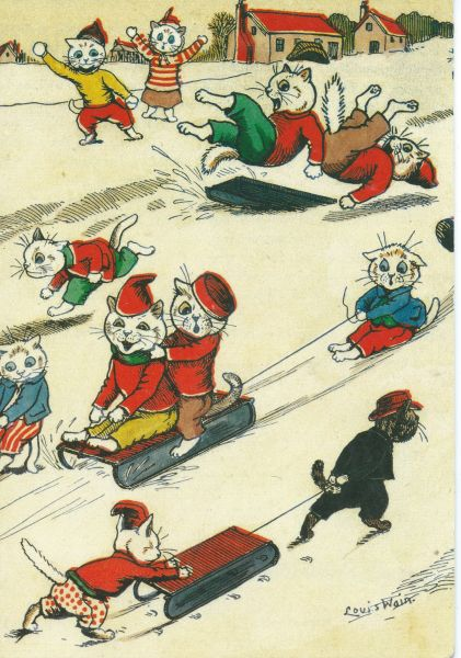 'Winter Fun' Fantastic Louis Wain Repro Christmas Card with Lots of Cats