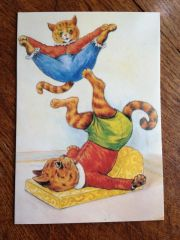 £1 Card!!! 'Cat Acrobats' Fun Vintage Cat Greeting Card. Illustration by Louis Wain.