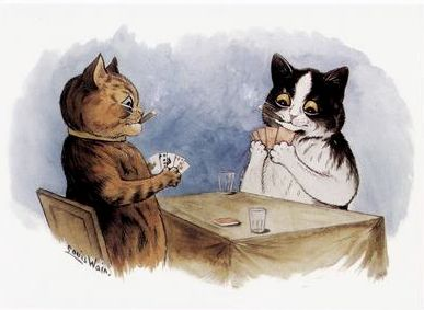 'Cats Playing Cards' Fun Vintage Cat Greeting Card. Illustration by Louis Wain.