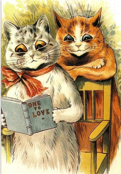 'One to Love' Vintage Cat Greeting Card. Illustration by Louis Wain.
