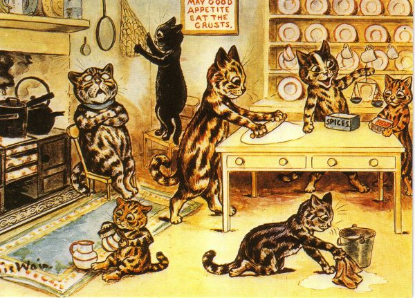 'In The Kitchen' Vintage Cat Greeting Card. Illustration by Louis Wain.