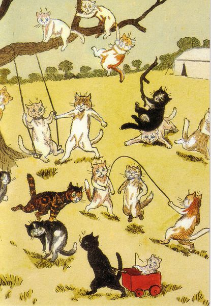 'Fun and Games' Vintage Cat Greeting Card Repro. Illustration by Louis Wain.
