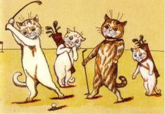 £1 Card!!! 'Hole in One' Vintage Cat Golf Greeting Card. Illustration by Louis Wain.