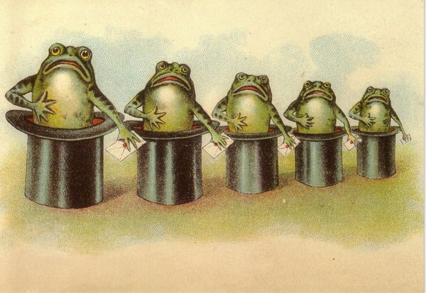 'The Top Hat Frogs' Vintage Frog Greeting Card Repro.