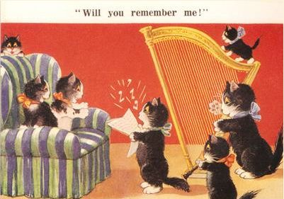 £1 Card!!! 'Will You Remember Me?' Lovely Vintage Cat Greeting Card Repro. Bon Voyage or Moving House.