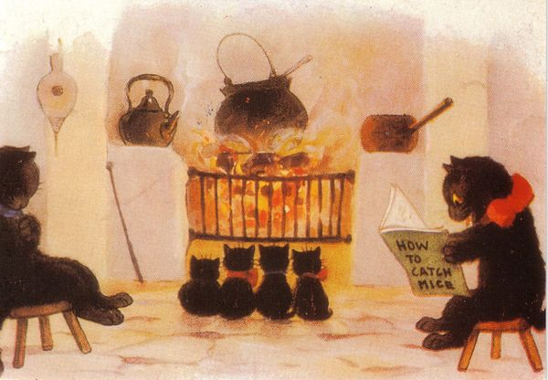 £1 Card!!! 'A Happy Family' Vintage Cat Greeting Card Repro.