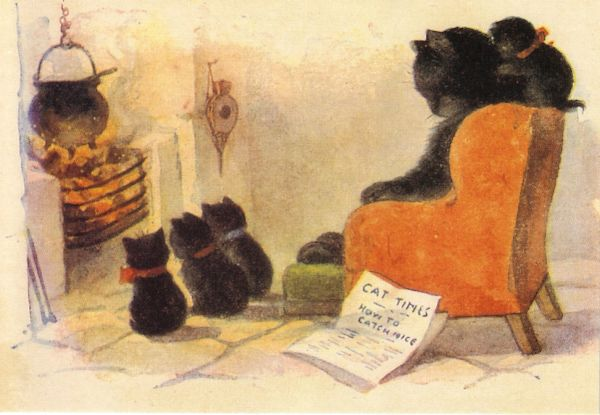 'A Cosy Evening' Vintage Cat Greeting Card Repro.