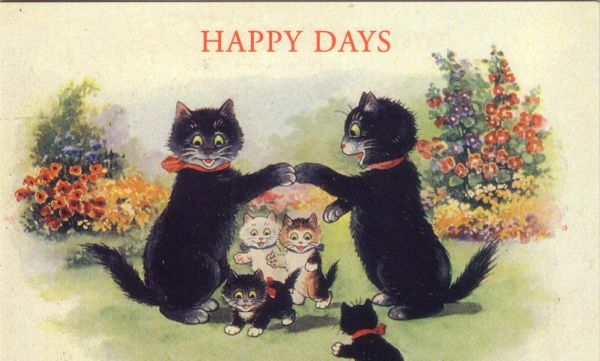 'Happy Days' Lovely Vintage Black Cat Family Greeting Card Repro.