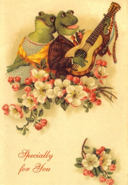 'Specially For You' Vintage Frog Love Card Repro.