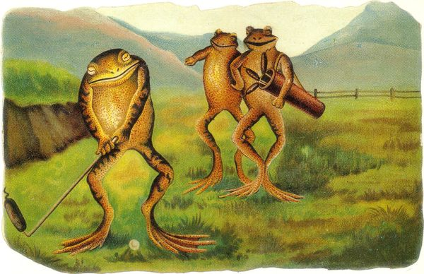 'Golfing Frogs' Vintage Frog Greeting Card Repro.