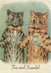 'Tea and Scandal' Fun Louis Wain Illustration Greeting Card of 2 Cats Gossiping over a Cup of Tea