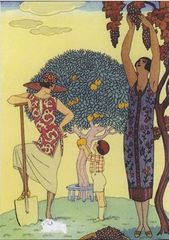 'Fruit Harvest' Art Deco Greeting Card with Barbier Illustration