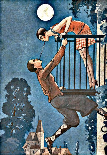 'Moonlighting' Romantic Art Deco Greeting Card. Beautiful Scene.