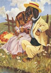 'Dachshunds In Love' Adorable Vintage Illustration Greeting Card