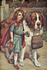 'The Guardian' Beautiful Card of Young Girl with her Saint Bernard Dog