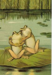 'It's a Lovely Day' Cute Victorian Frog Greeting Card