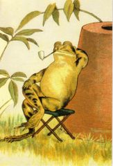 'Taking It Easy' Victorian Frog Greeting Card Great for Father's Day