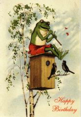 'The Musical Frog' Fun Vintage Frog Greeting Card