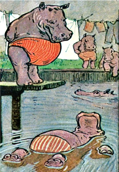 'Hippo Dip' Fun Hippopotamus Greeting Card