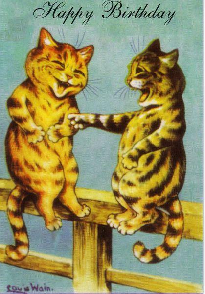'A Good Laugh' Hilarious Louis Wain Birthday Card Reproduction