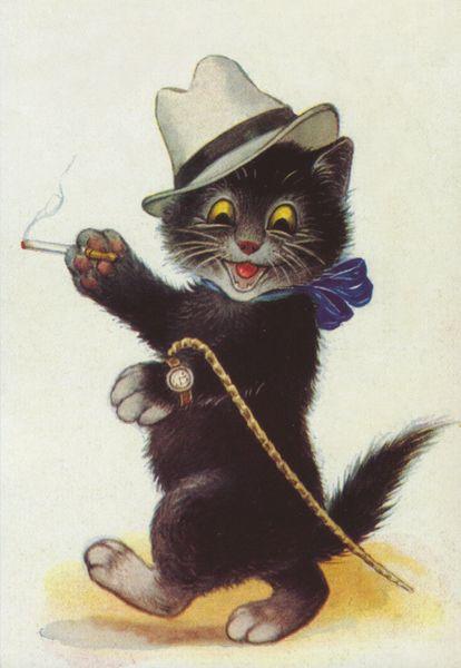 'A Jaunty Gentleman' Brilliant Vintage Cat Greeting Card
